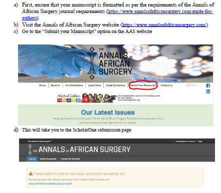 How to submit papers to the Annals of African Surgery via ScholarOne manuscript submission system.