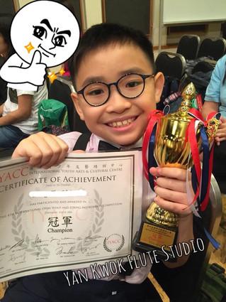 恭喜六級學生長笛比賽喺74個參賽者中攞到第一