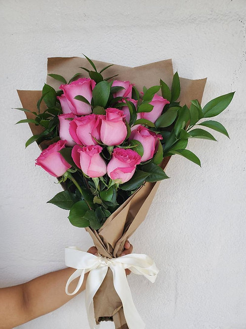 12 Wrapped Pink Roses