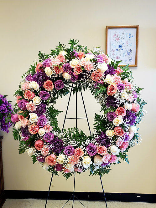 Blush Pinks and Purple Wreath