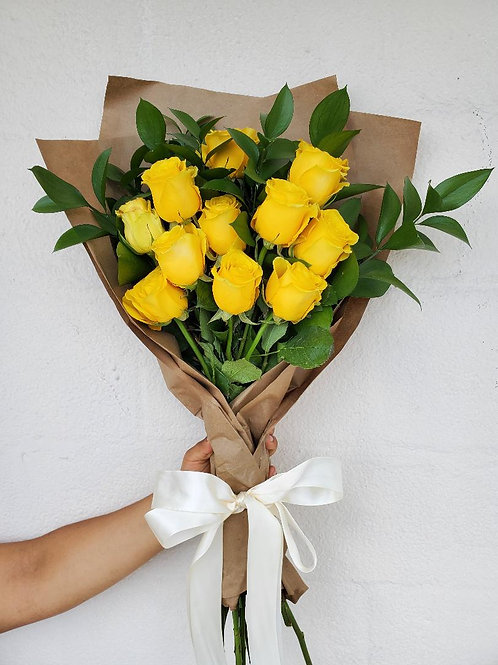 12 Wrapped Yellow Roses