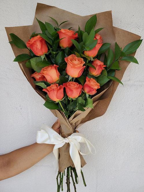 12 Wrapped Orange Roses