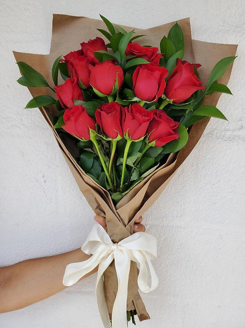 12 Wrapped Red Roses