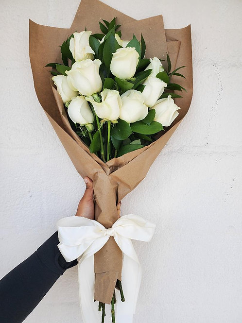 12 Wrapped White Roses