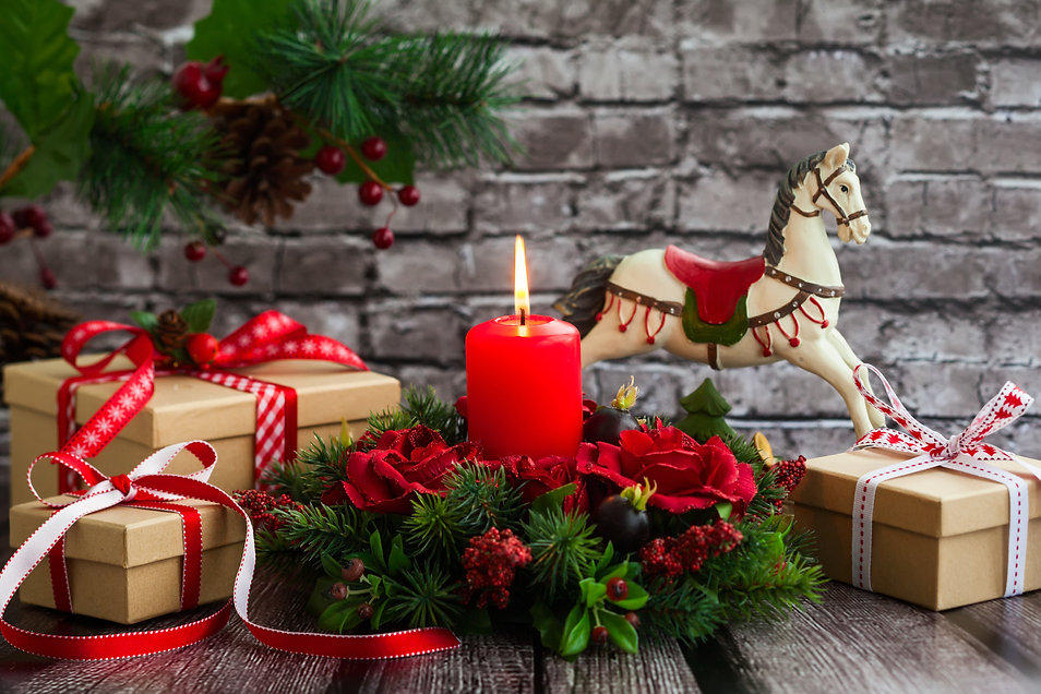 Christmas decorations with red candle,gi