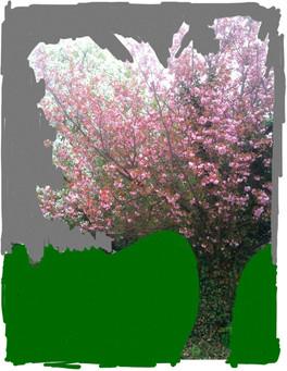 Roter Baum auf Grün