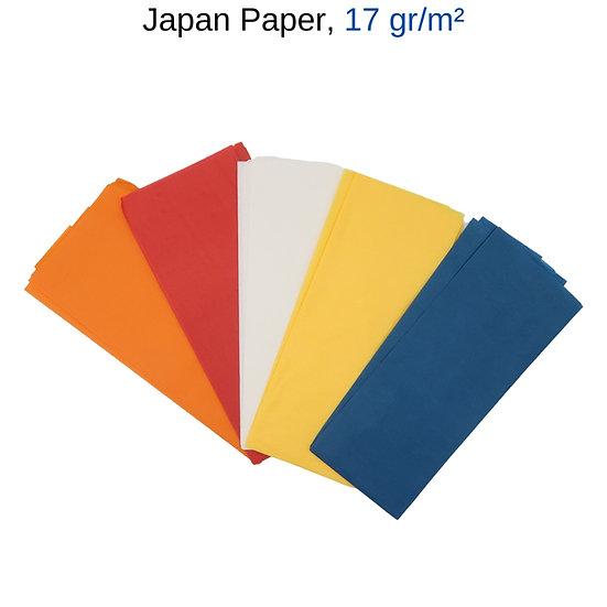 japan papier, japanpapier slow flyer, japanpapier farben, japan papier blau, japanpapier rot, japanpapier orange