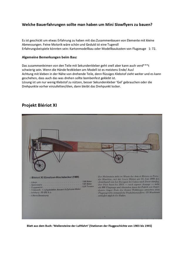 Ausführugen zum Bau der Blériot Seite 1
