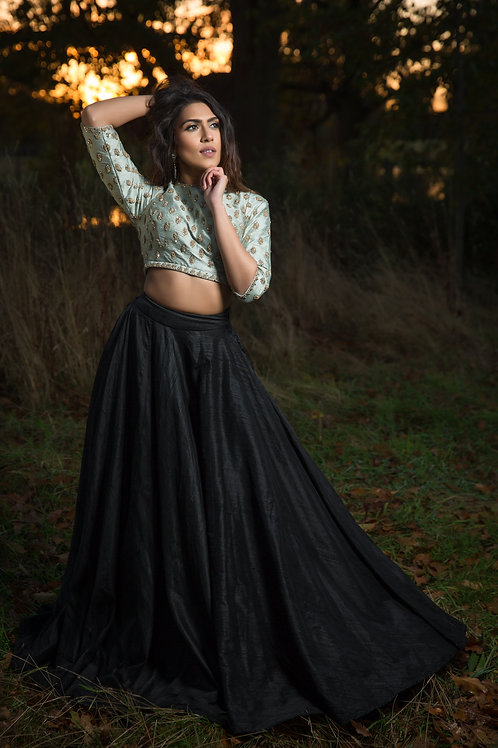 Black pure raw silk (10 mtr ghera) skirt with duck egg blue embroidered top