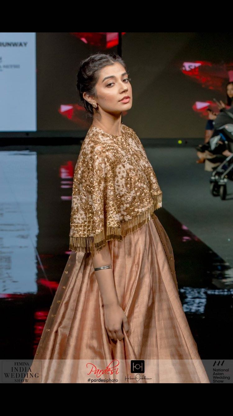 Silk Gown with Embroidered Cape