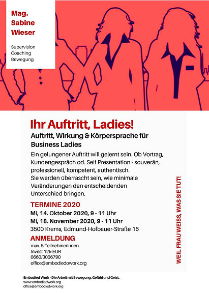 Flyer Ihr Auftritt, Ladies! Herbst 2020.