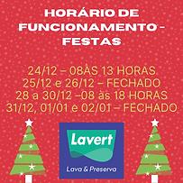 Horário Funcionamento Festas Lavert 2020