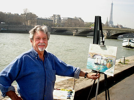 working on the exhibit in Paris painting