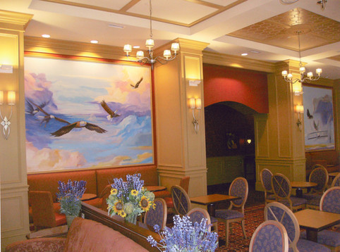 Birth of Flight mural in Hampton inn, NC