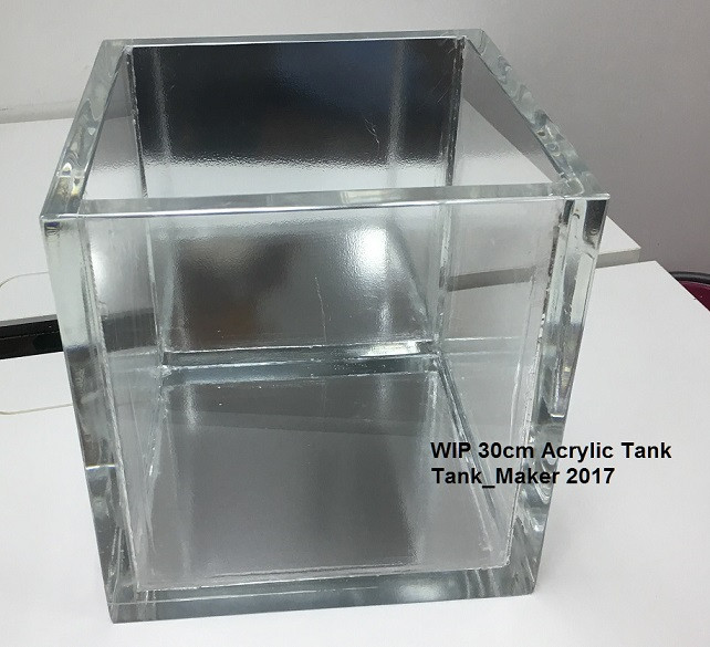 5 gallon tank, size 1 ft cube acrylic tank