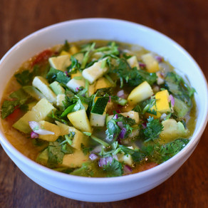 Mexican Chicken Soup with Key Lime Calabacitas Relish (Dairy and Corn Free)