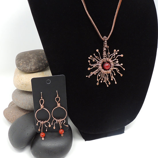 Sunburst Earrings and Necklace Set w/Natural Agates