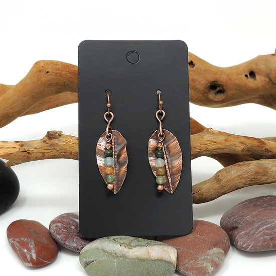 Small Hand Formed Copper Leaf Earrings with Jasper Beads
