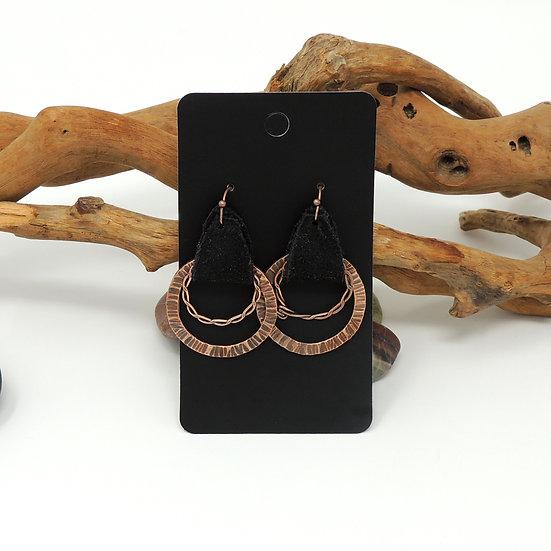 Copper Black  Suede Hoops