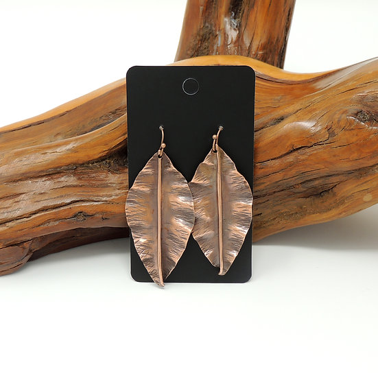 Hand Formed Copper Leaf Earrings