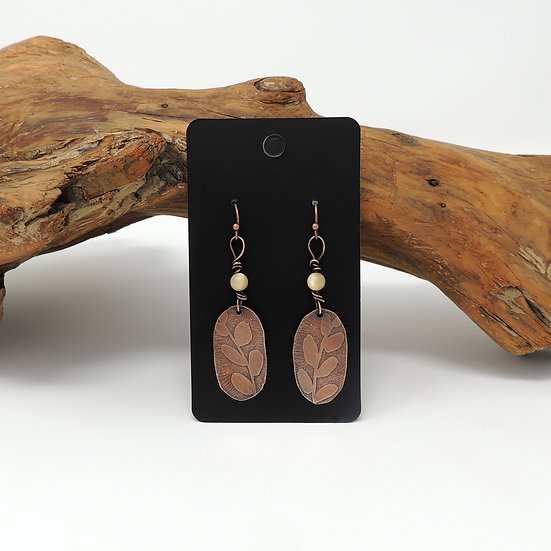 Etched Copper with Natural Shell Bead earrings