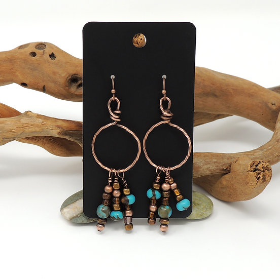 Hand Formed Hoop earrings with Mixed Beads