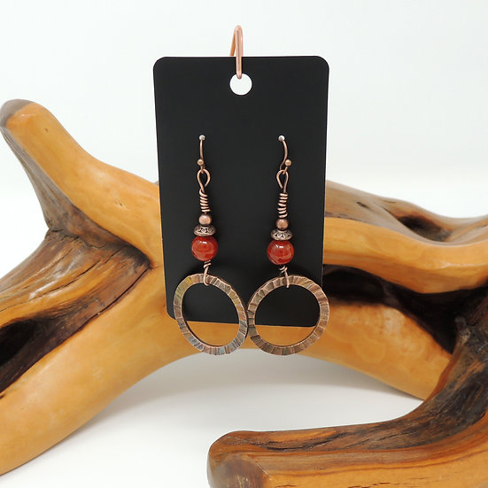 Amber Agate with Textured Copper Hoop drop earrings