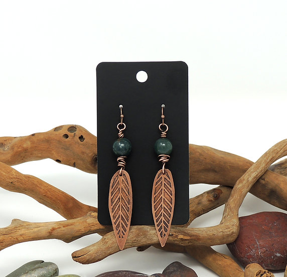"""Etched Copper """"Feathers"""" with Natural Agate Bead earrings"""