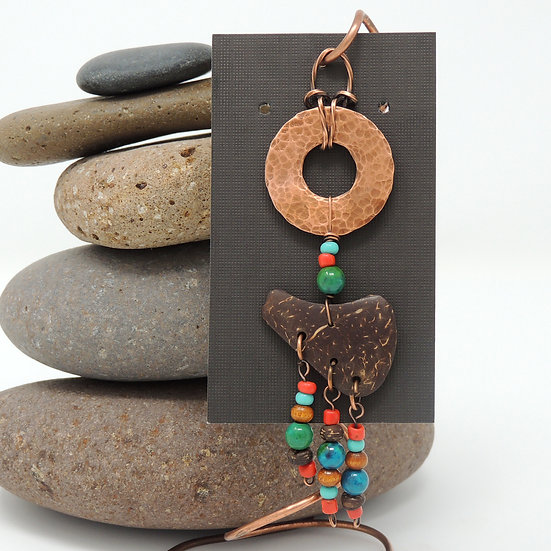 Copper and Coconut Shell pendant