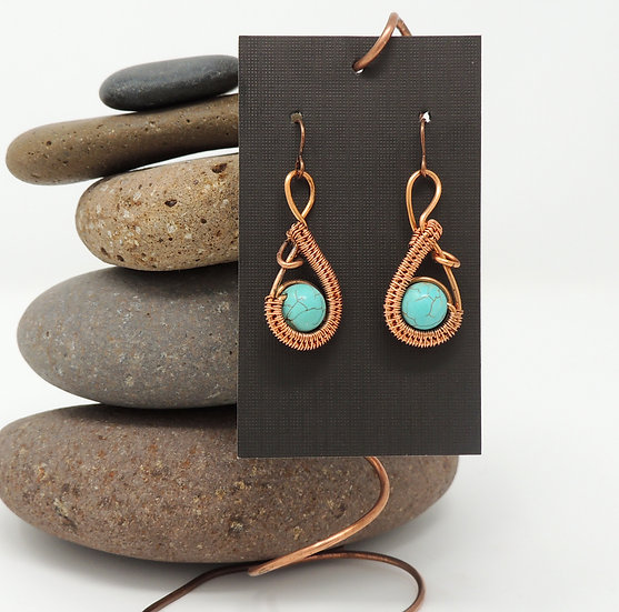 Copper weaved Earrings with natural Turquoise beads.