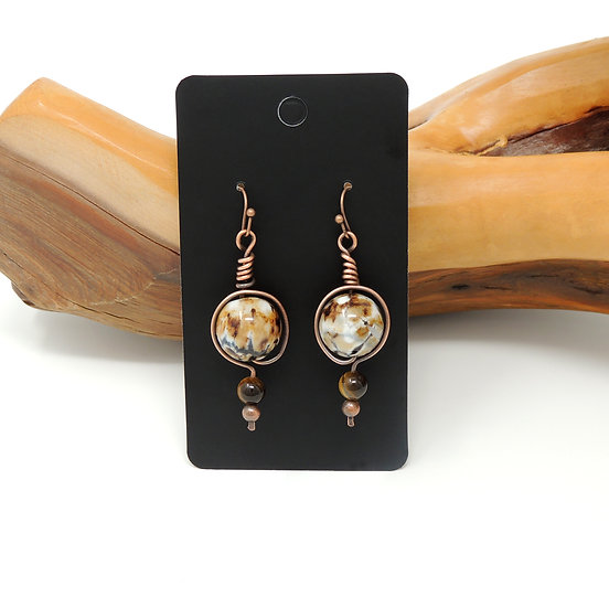 Brown Agate with Tiger Eye Beaded Earrings