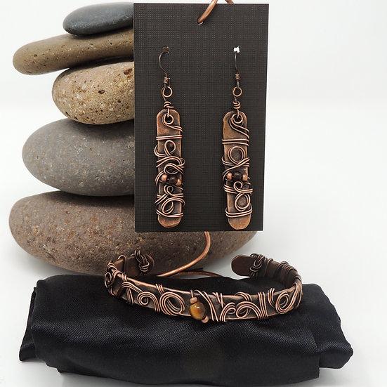 Antiqued Copper Swirl Earrings and Cuff Bracelet