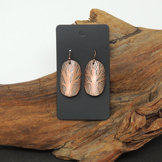 Etched Tree Copper Earrings