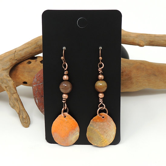 Flame Painted and Hand Formed Copper Drops