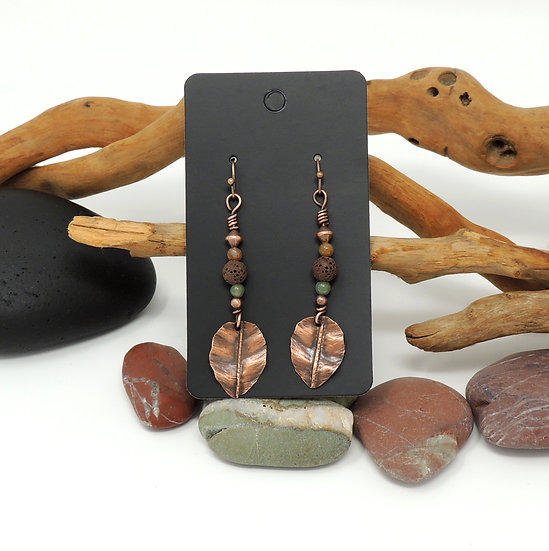 Lava Stone and Agate Beads with hand formed Copper Leaves