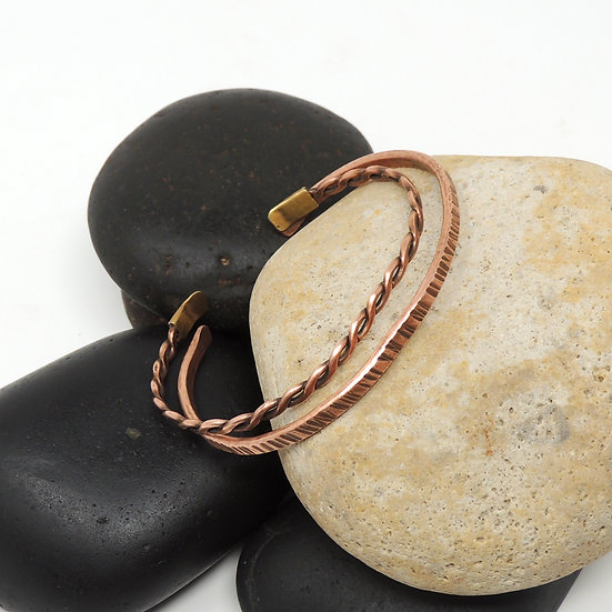 Pair of Hand Hammered Copper Bracelets