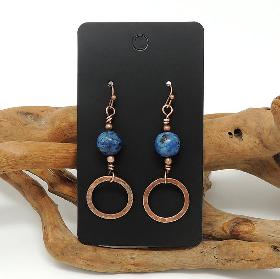 Textured Copper Hoop drop earrings With Natural Stone Beads