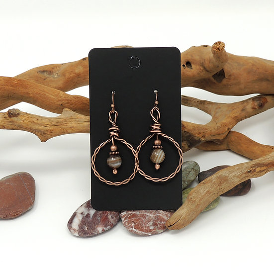 Hand Formed Hoop earrings with Agate and Copper Beads