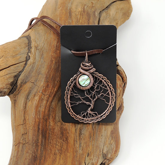 Tree of Life Pendant with Abalone Shell