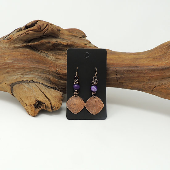 Hammered Copper Earrings with Purple Agates