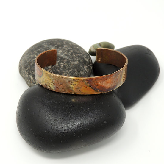 Hand Hammered and Flame Painted Copper Cuff Bracelet