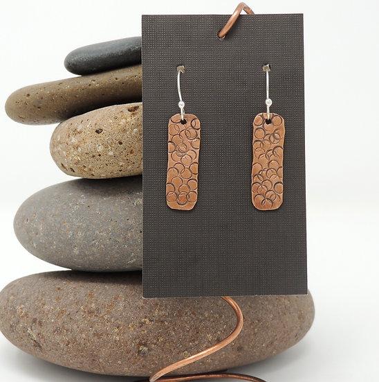 Textured Copper Drop Earrings
