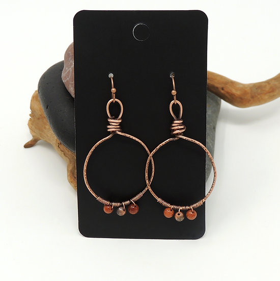Hand Formed Hoop earrings w/ Goldstone and Copper Beads