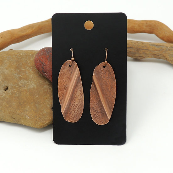 Hand Formed Antiqued Copper Earrings