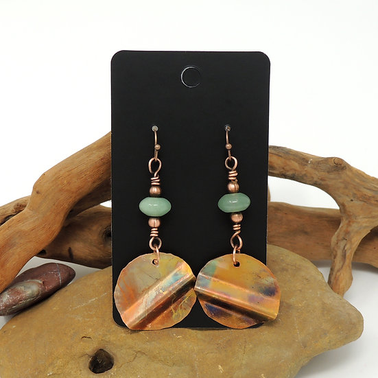 Flame Painted and Hand Formed Copper Discs w/ Aventurine