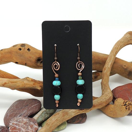 Copper, Onyx, and Howlite beaded drop earrings