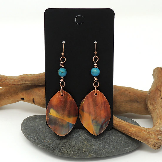 Flame Painted and Hand Formed Copper Discs w/Jasper