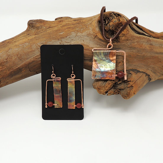 Flame PaintedNecklace and Earring set
