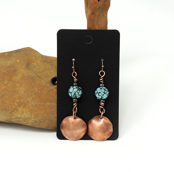 Hammered Copper Earrings with Glass Beads
