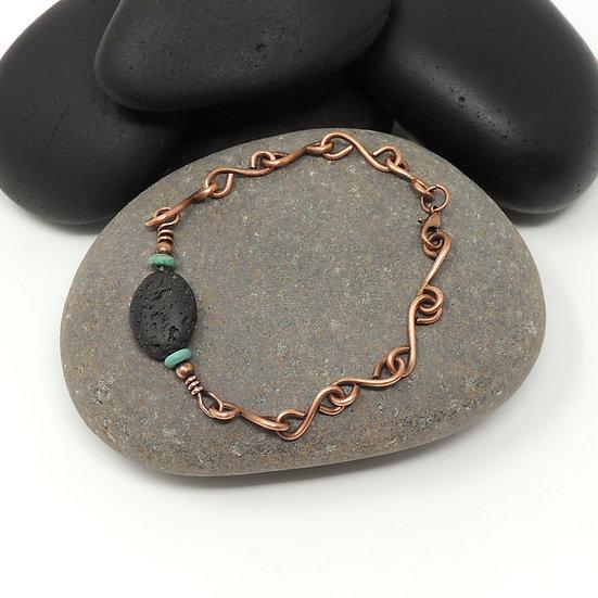 Hand Formed Copper Bracelet -Lava Stone for Essential Oils
